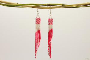 Deep Pink & Silver Glass Beads Tube Chandelier Earring