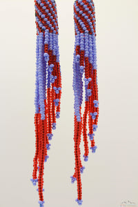 Light Steel Blue & Red Glass Beads Tube Chandelier Earring