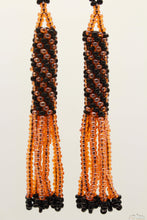 Coral Orange & Black Glass Beads Cylindrical Chandelier Earring