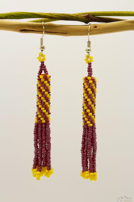 Burgundy & Yellow Glass Beads Cylindrical Chandelier Earring