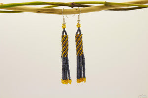 Gray Chrome & Golden Glass Beads Cylindrical Chandelier Earring