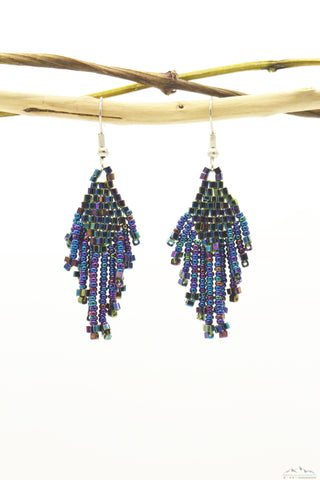 Bluish Polaroid Glass Beads Small Rhombus Chandelier Earring