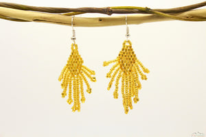 Shiny Golden Yellow Glass Beads Small Rhombus Chandelier Earring