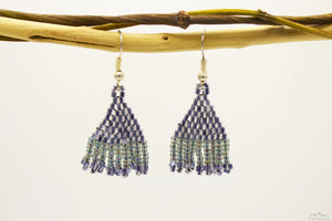 Gray Chrome Glass Beads Triangular Chandelier Earring- Small