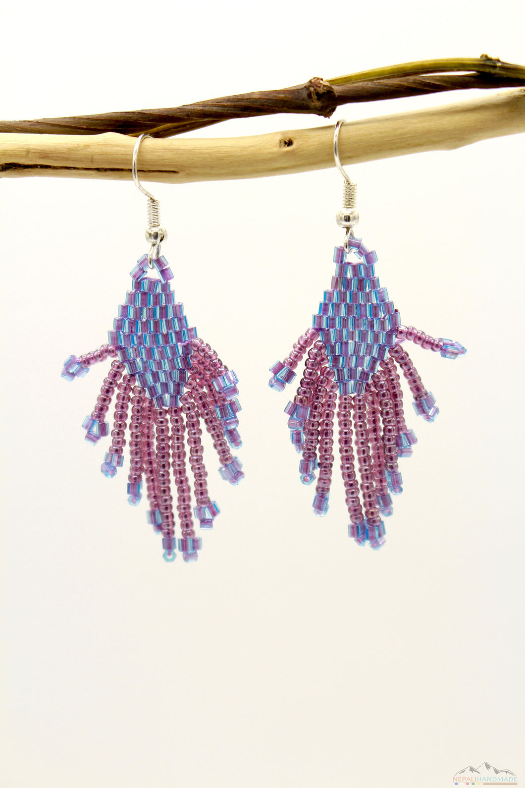 Medium Purple Glass Beads  Small Rhombus Chandelier Earring