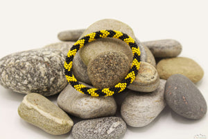 Black And Yellow Glass Beads Roll On Bracelet