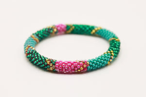Sparkling Green, Blue & Pink Glass Beads Roll On Bracelet