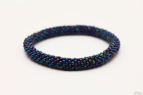 Blue Chrome Glass Beads Roll On Bracelet