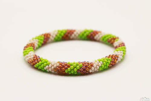 Green, White & Brown Glass Beads Roll On Bracelet