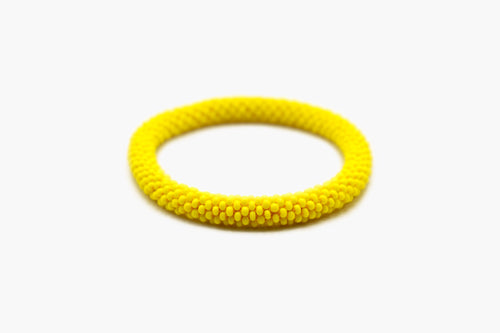 Yellow Glass Beads Roll On Bracelets