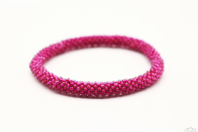 Deep Pink Glass Beads Roll On Bracelet
