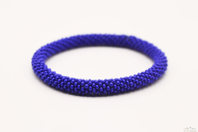 Dark Blue Glass Beads Roll On Bracelet