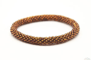 Saddle Brown Glass Beads Roll On Bracelet
