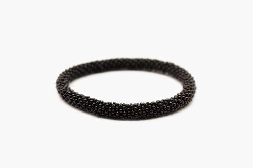 Black Glass Beads Roll On Bracelet