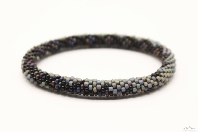 Gray & Black Glass Beads Pebble Styled Roll On Bracelet
