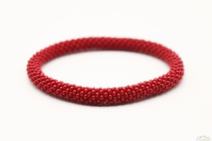 Dark Red Glass Beads Roll On Bracelet