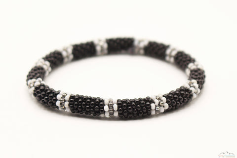 Black, White and Gray Glass Beads Roll On Bracelet