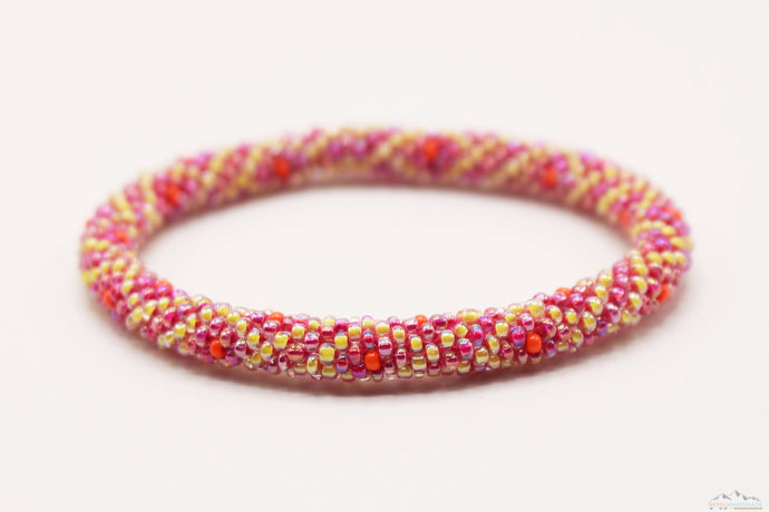 Diamond Design Pink, Yellow & Orange Glass Beads Roll On Bracelet