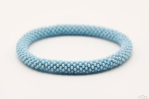 Light Blue Glass Beads Roll On Bracelet