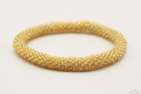 Shiny Khaki Yellow Glass Beads Roll On Bracelet