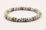 Shiny White & Brown Glass Beads Mix Pattern Roll On Bracelet