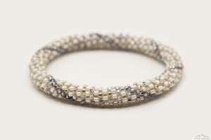 Shiny White, Silver & Gray Glass Beads Line Pattern Roll On Bracelet