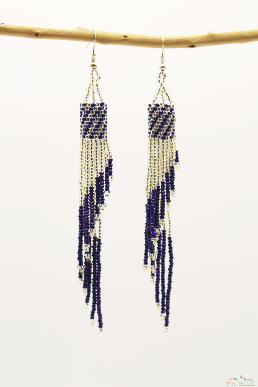 Dark Blue & Silver Glass Beads Tube Chandelier Earring