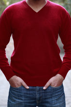 Red Cashmere V-Neck Sweater