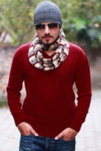 Men's Red Cashmere V-Neck Sweater