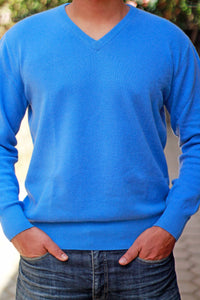Men's Cornflower-Blue Cashmere V-Neck Sweater