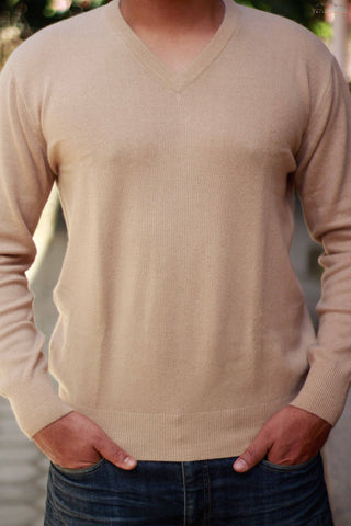 Men's Wheat-Brown Cashmere V-Neck Sweater