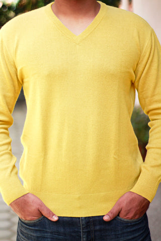Men's Yellow Cashmere V-Neck Pullover Sweater