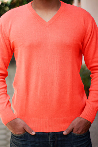 Men's Bright Peach Cashmere V-Neck Sweater
