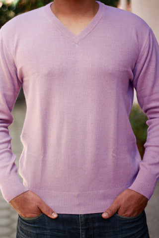 Men's Light Purple Cashmere V-Neck Sweater