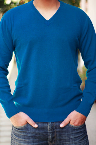 Men's Dodger Blue Cashmere V-Neck Sweater
