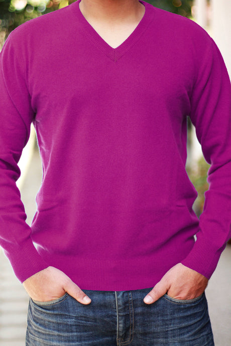Men's Dark Magenta Cashmere V-Neck Sweater
