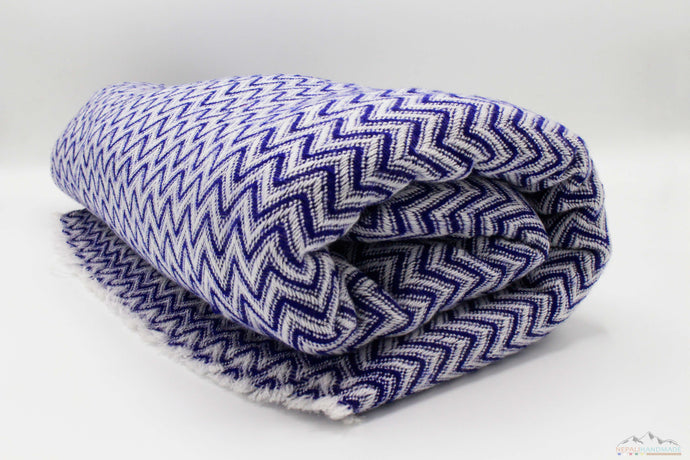 Blue & White Chevron Cashmere Blanket