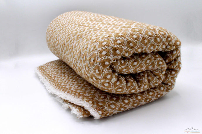 Sandy Brown Diamond Cut Cashmere Blanket
