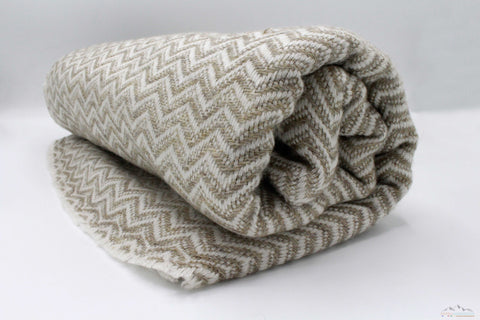 Tan Brown Chevron Cashmere Blanket