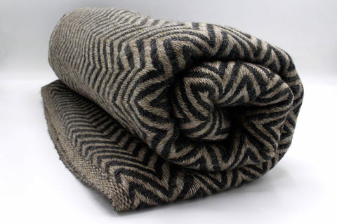 Dark Brown & Black Chevron Cashmere Blanket