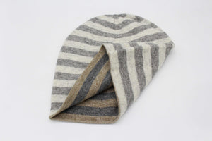 Double Sided Dark Brown & Gray Stripes Unisex Cashmere Cap