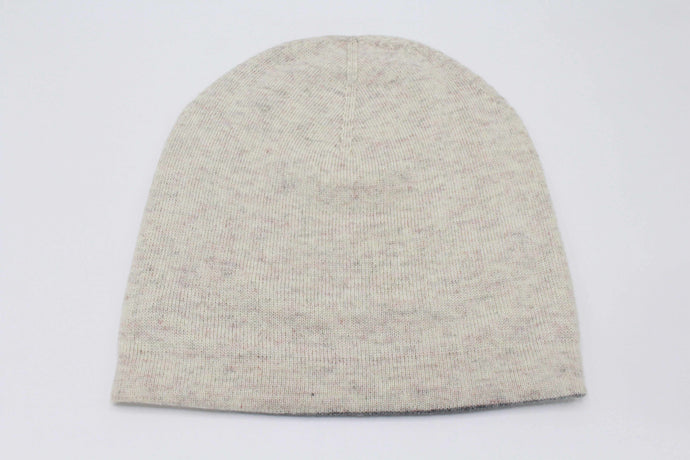 Double Sided Off White & Medium Gray Unisex Cashmere Cap/Beanie
