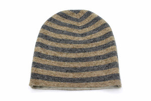 Double Sided Dark Brown & Gray Stripes Unisex Cashmere Cap/Beanie