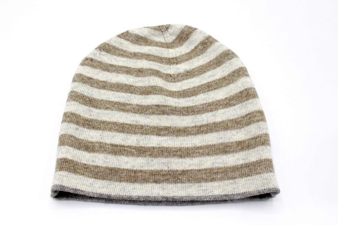 Double Sided Gray & Brown Stripe Unisex Cashmere Cap/Beanie