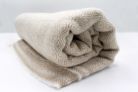Bisque Brown Diamond Pattern Cashmere Blanket