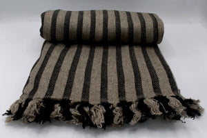 Brown & Black Chevron Stripes Cashmere Blanket