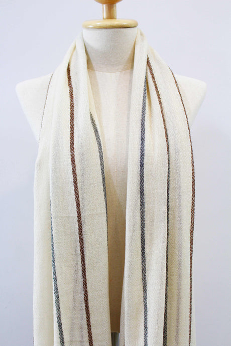 100% Cashmere Off White Brown & Gray Lined Pashmina Shawl/Scarf
