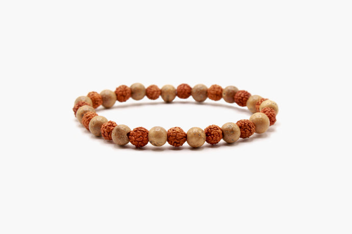 6mm Rudraksha And Lotus Seeds Bracelet