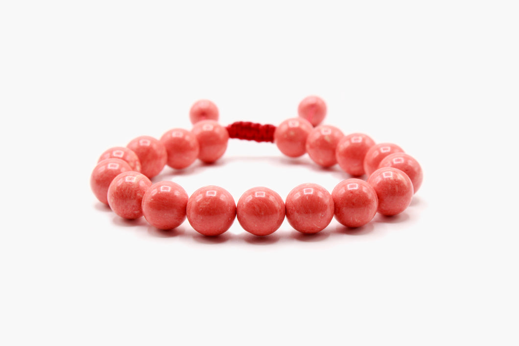 Pink Coral Stone Beads Bracelet