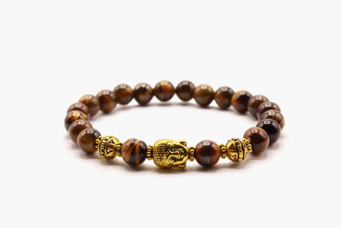 Tiger Eye Stone And Buddha Head 8 mm Beads Bracelet